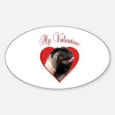 Pug Valentine Oval Decal