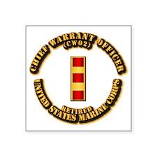"USMC - CW2 - Retired Square Sticker 3"" x 3"""
