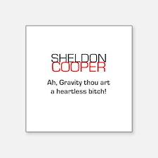"""Sheldon Cooper's Gravity Quote Square Sticker 3"""" x"""