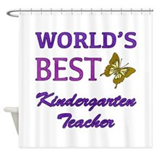 World's Best Kindergarten Teacher Shower Curtain