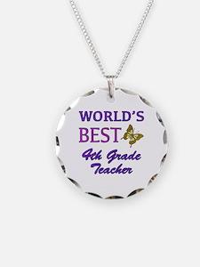 World's Best 4th Grade Teacher Necklace