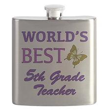 World's Best 5th Grade Teacher Flask