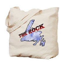 The Rock with sky texture Island and red  Tote Bag