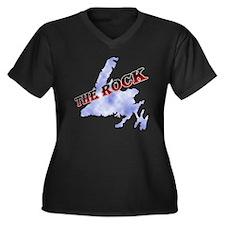 The Rock wit Women's Plus Size Dark V-Neck T-Shirt
