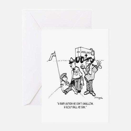 Kid Swallows a Golf Ball Greeting Card