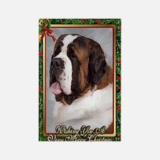 Saint Bernard Dog Christmas Rectangle Magnet