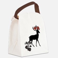 deer with flowers Canvas Lunch Bag