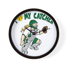 green, I love my catcher Wall Clock
