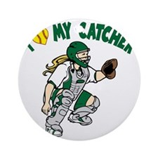 green, I love my catcher Round Ornament