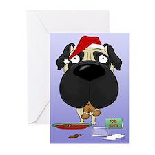 Pug Santa's Cookies Greeting Cards (Pk of 10)
