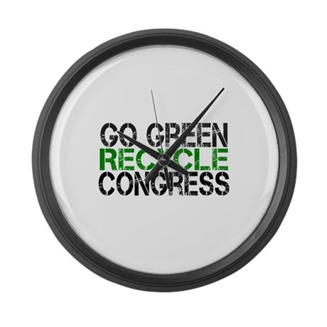 Go Green Recycle Congress Large Wall Clock