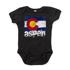 Aspen Grunge Flag Baby Bodysuit