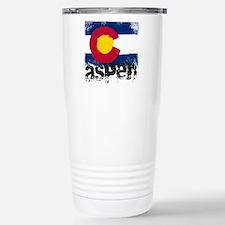 Aspen Grunge Flag Stainless Steel Travel Mug