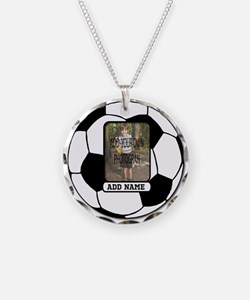 Photo and Name personalized soccer ball Necklace
