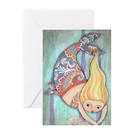 cute chubby mermaid Greeting Card