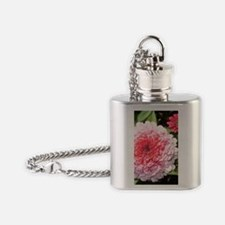 Pretty Pink Zinnia Flowers Flask Necklace