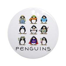 Nine Penguins Ornament (Round)