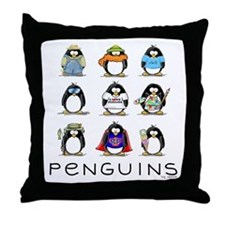 Nine Penguins Throw Pillow