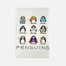 Nine Penguins Rectangle Magnet