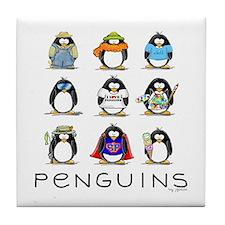 Nine Penguins Tile Coaster