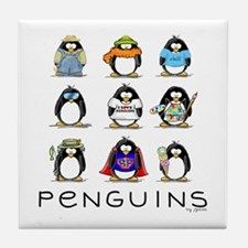 Nine Penguins Tile Coaster