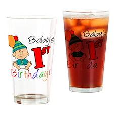 Babys First Birthday Button Drinking Glass