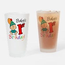 Babys First Birthday Button Drinking Glass
