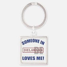 Someone In Delaware Loves Me Square Keychain