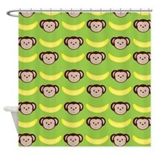 Monkeys and Bananas on Green Shower Curtain