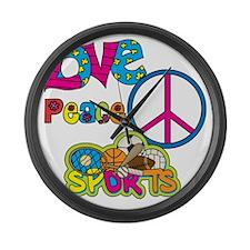Love Peace Sports Large Wall Clock