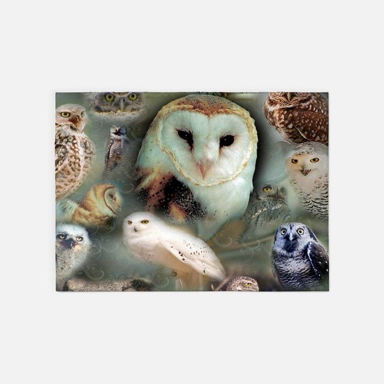 Happy Owls 5'x7'Area Rug