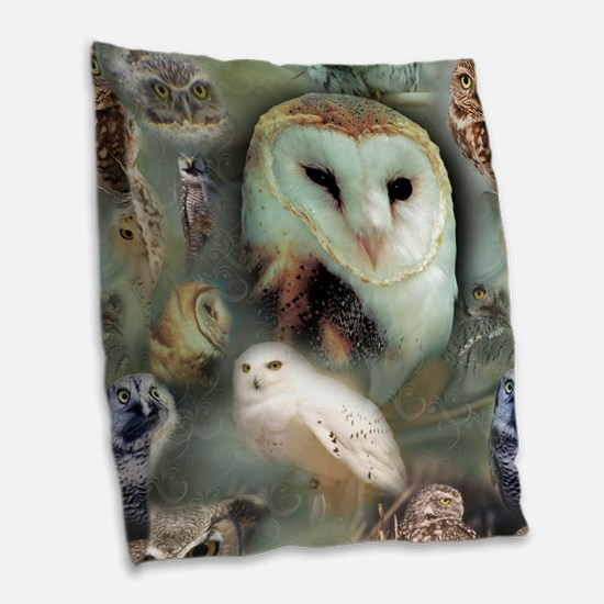 Happy Owls Burlap Throw Pillow
