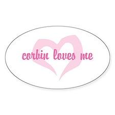 """corbin loves me"" Oval Decal"