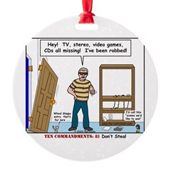Thief Robbed Round Ornament