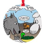 Sheep, Wolf, et al Round Ornament