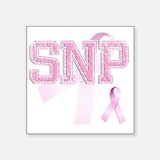"SNP initials, Pink Ribbon, Square Sticker 3"" x 3"""