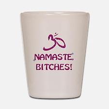 Namaste Bitches - Purple Glitter Effect Shot Glass