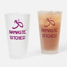 Namaste Bitches - Purple Glitter Ef Drinking Glass