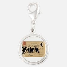 Nevermore Ravens Carte Postale Silver Round Charm