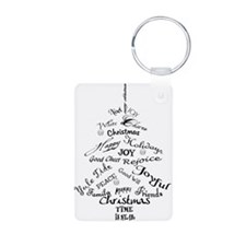 Christmas Word Tree Aluminum Photo Keychain