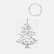 Christmas Word Tree Aluminum Photo Keychain