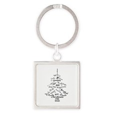 Christmas Word Tree Square Keychain