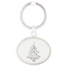 Christmas Word Tree Oval Keychain