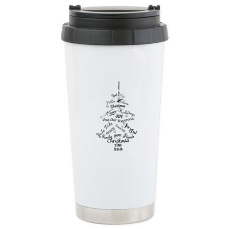 Christmas Word Tree Stainless Steel Travel Mug