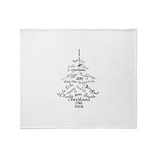 Christmas Word Tree Throw Blanket