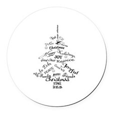 Christmas Word Tree Round Car Magnet