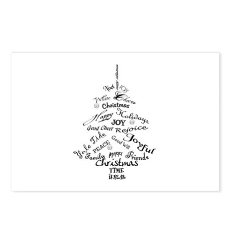 Christmas Word Tree Postcards (Package of 8)