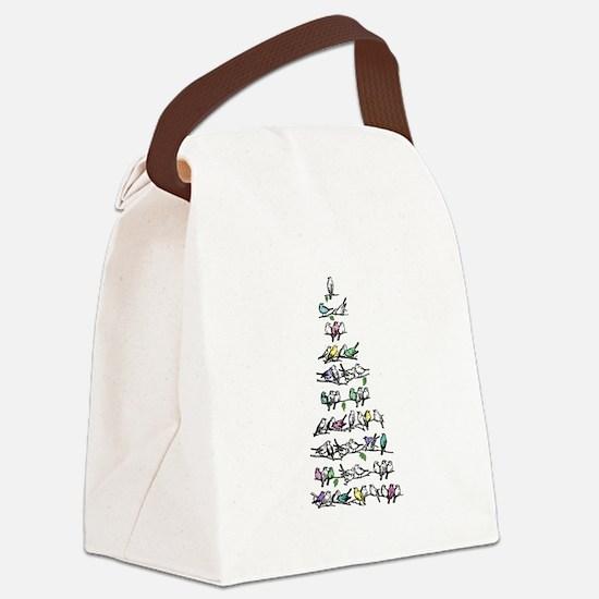 Christmas Bird Tree Canvas Lunch Bag