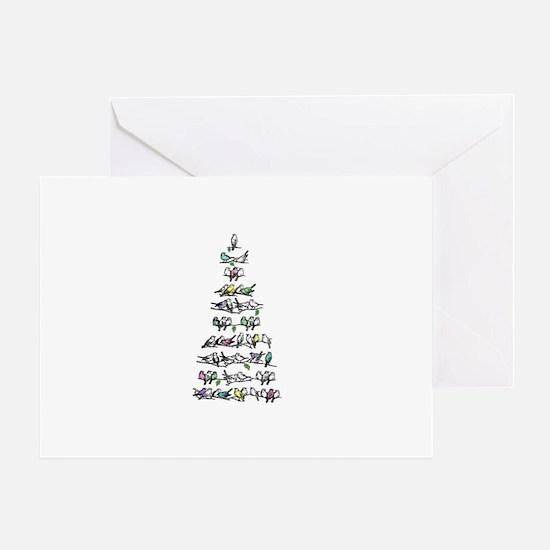 Christmas Bird Tree Greeting Card
