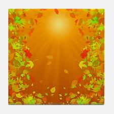 Falling Leaves at Sunset Tile Coaster